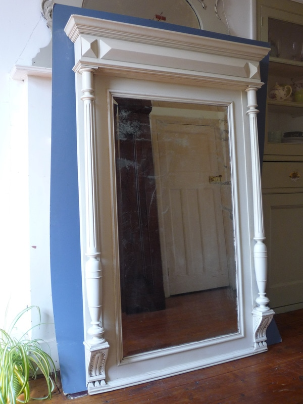 Large Painted French Antique Mirror