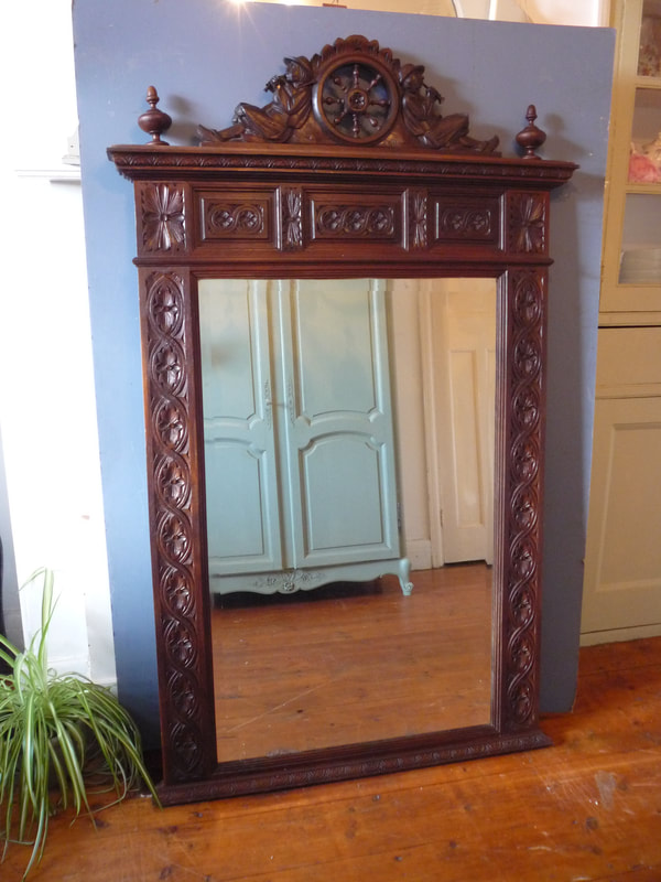 Huge antique Carved oak French mirror