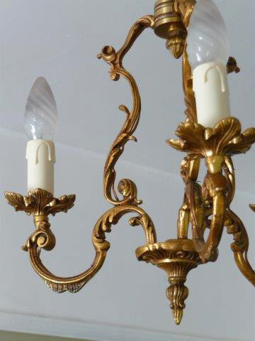 Vintage French 3 Arm Chandelier
