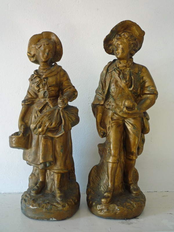 Antique French Chalkware Figurines