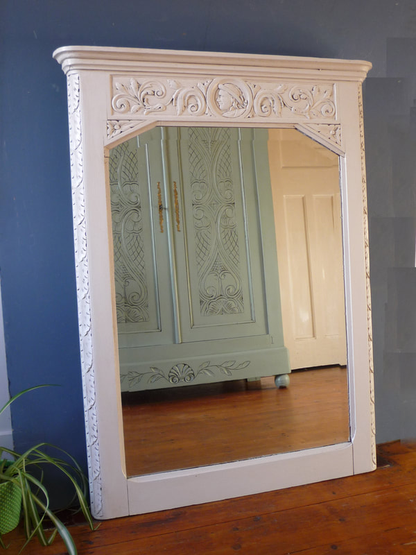 Large Antique Painted Breton French Mirror