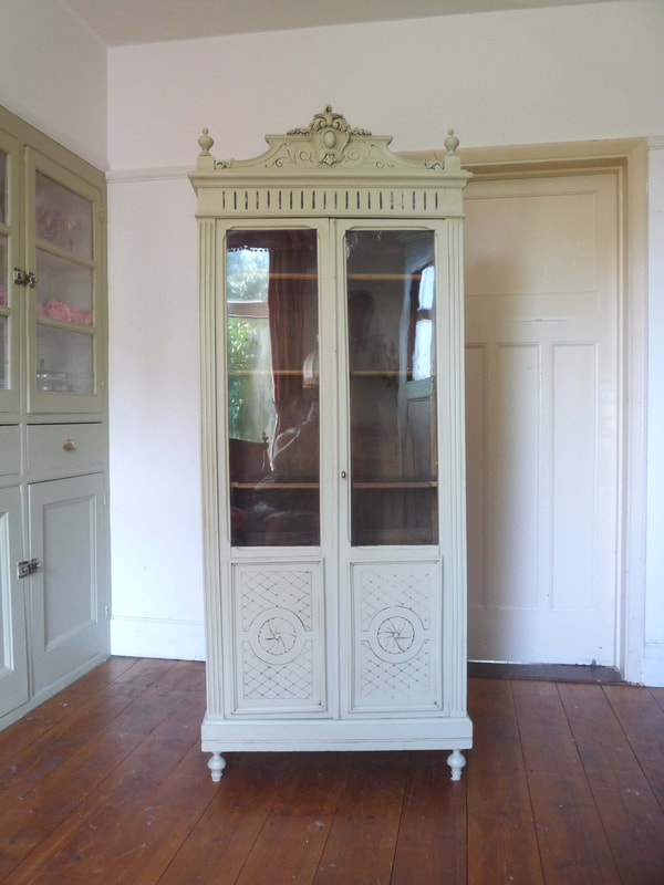 Antique Painted French Vitrine